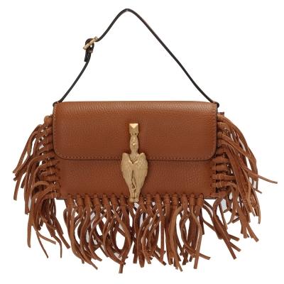 VALENTINO 金色獅鷲造型小羊皮流蘇磁釦手提包(棕色)