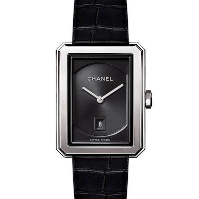 CHANEL 香奈兒BOY·FRIEND中型款鱷魚皮錶帶-26.7 x 34.6mm