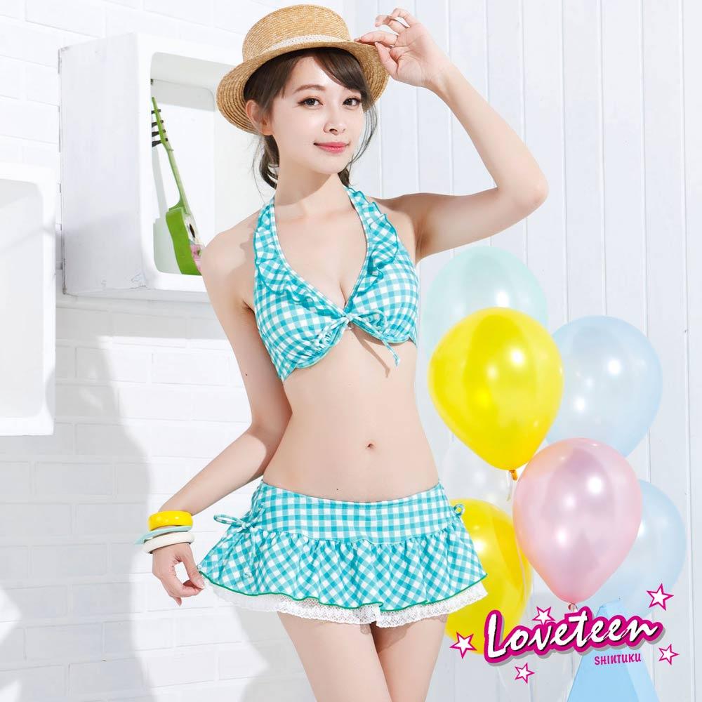 夏之戀SUMMERLOVE  俏麗格子比基尼三件式泳衣