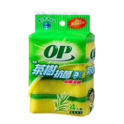OP 茶樹抗菌海綿菜瓜布(4入)