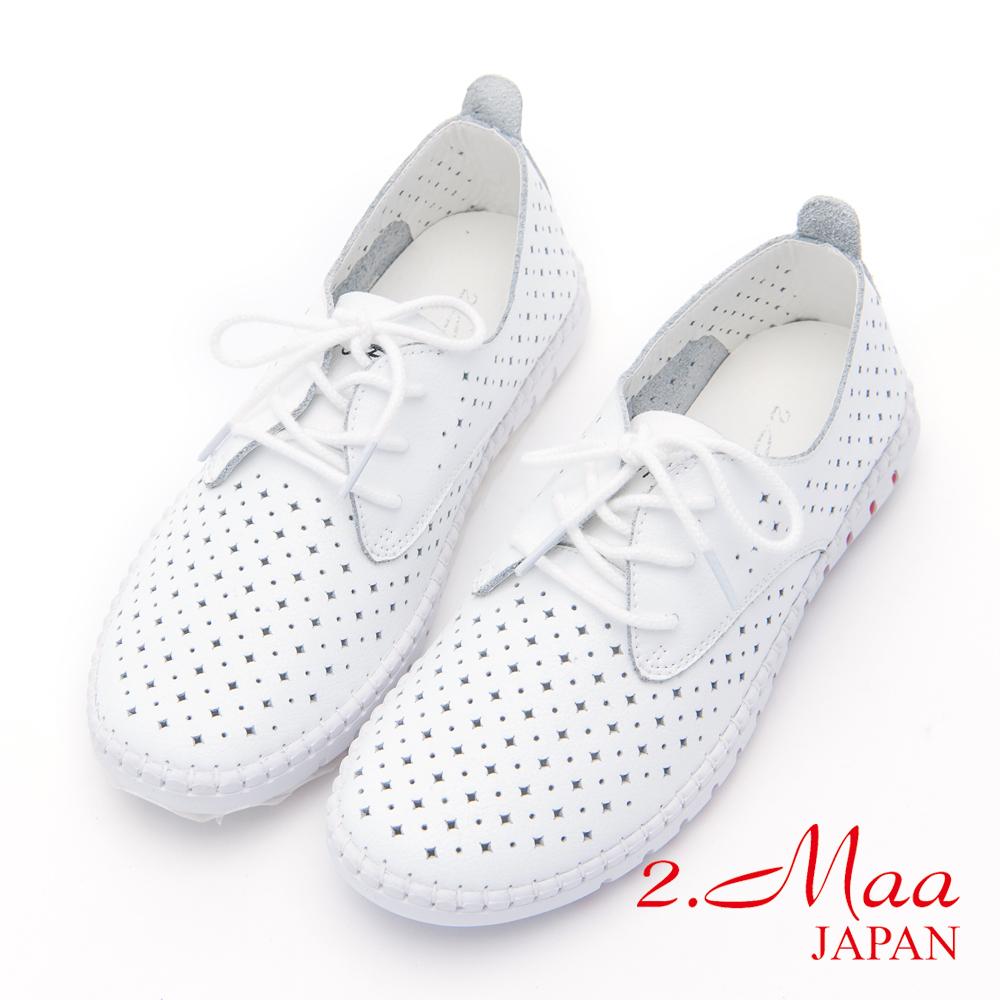 2.Maa-沖孔綁帶牛皮平底休閒鞋-白