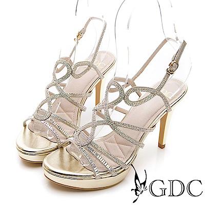 GDC-交叉水鑽性感女神款細跟涼鞋-金色