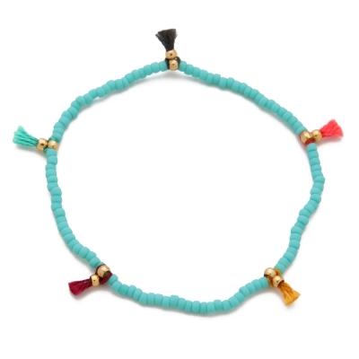 SHASHI 紐約品牌 Lilu 彩虹流蘇 幸運手鍊 土耳其藍