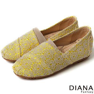 DIANA-超厚切香水粉撲款-法式花朵蕾絲樂福鞋
