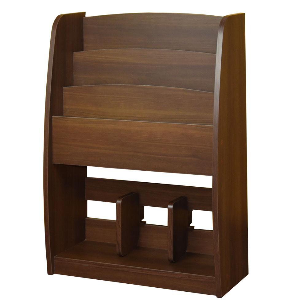 胡桃色階梯雜誌架/木製雜誌架/雜誌收納架/調整式收納架