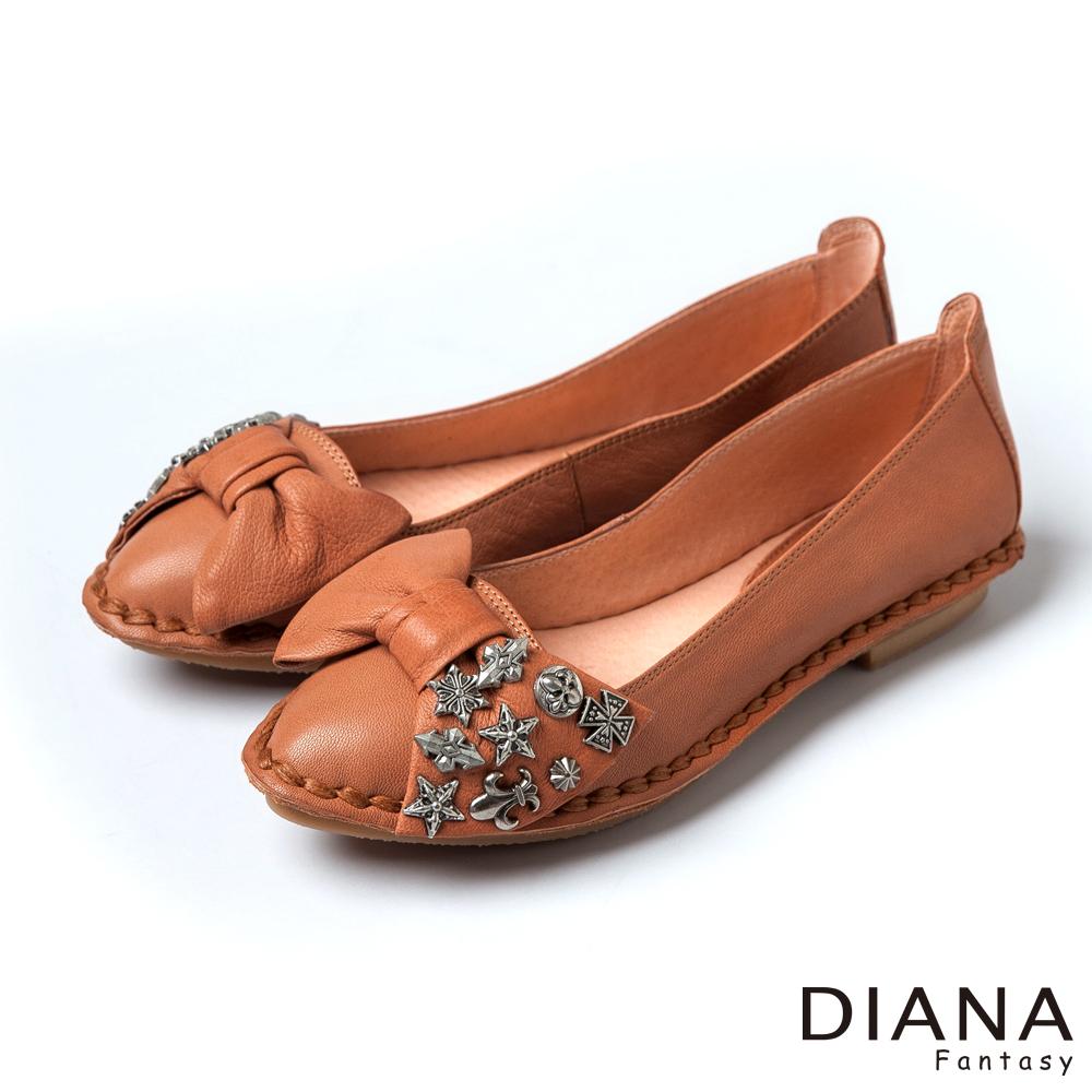 DIANA 超軟Q--雙色羊皮蝴蝶結娃娃平底鞋-棕