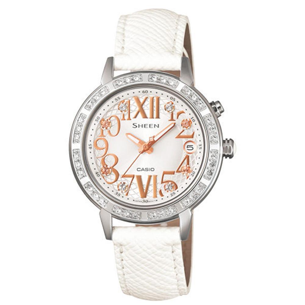 CASIO SHEEN系列 璀璨華麗仕女腕錶-白-31mm