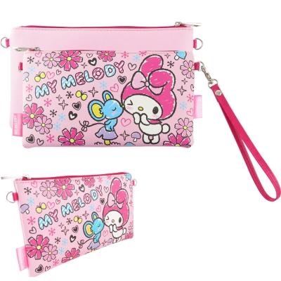 Sanrio三麗鷗皮革彩繪橫式手機袋 萬用包-美樂蒂親親