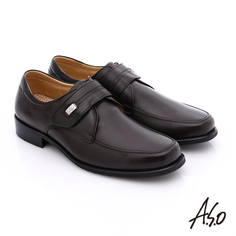 A.S.O 勁步雙核心 全真皮魔鬼氈奈米紳士皮鞋 咖啡色