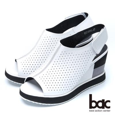 bac時尚甜心 典雅魚口厚底涼鞋-白