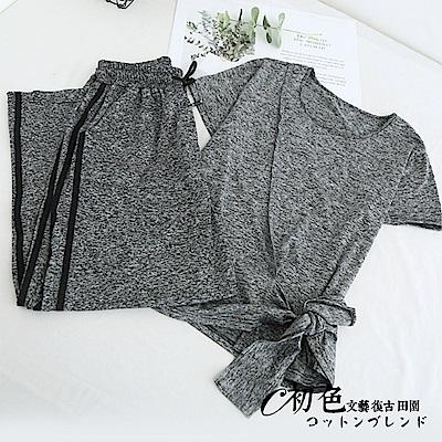 時尚綁帶上衣豎條闊腿褲套裝-灰色(M/L可選)     初色
