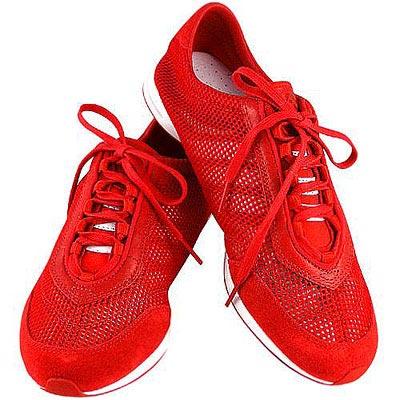 Y-3山本耀司 真皮透氣網織運動休閒鞋-紅色【女款US 9號】