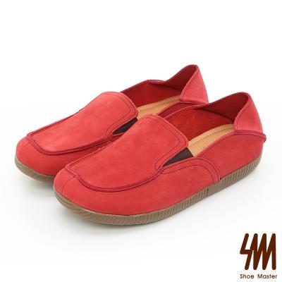 SM-台灣製全真皮-方頭懶人樂福鞋-紅色