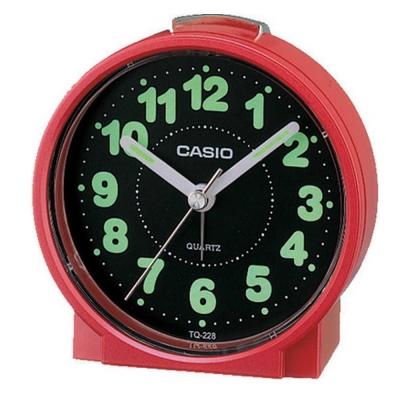 CASIO 貪睡鬧鐘桌上圓型指針款鬧鐘(TQ-228-4)-紅x黑面
