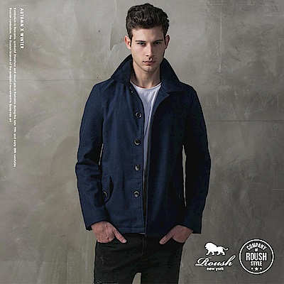 Roush 俐落剪裁合身版毛料短大衣 - 2色