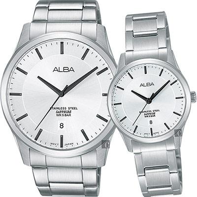 ALBA 時尚東京石英對錶(AS9C95X1+AH7M23X1)-銀/40+28mm