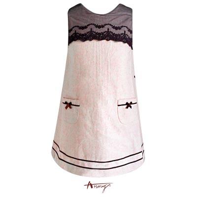 Annys氣質蝴蝶結雙口袋蕾絲A字洋裝*5244粉