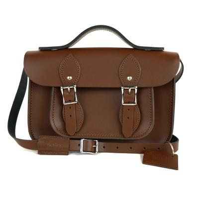 The Leather Satchel 英國手工牛皮劍橋包 肩背手提包 栗木棕 11吋
