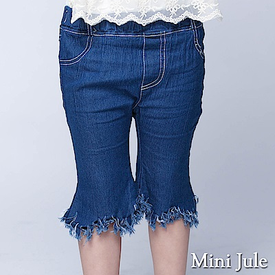 Mini Jule 童裝-短褲 流蘇造型後雙口袋短褲(深藍)
