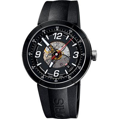 ORIS TT1 競速陶瓷時尚鏤空機械腕錶-黑/42mm