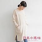 日系小媽咪孕婦裝-韓製孕婦裝~滿版點點印花內刷毛洋裝 (共三色)