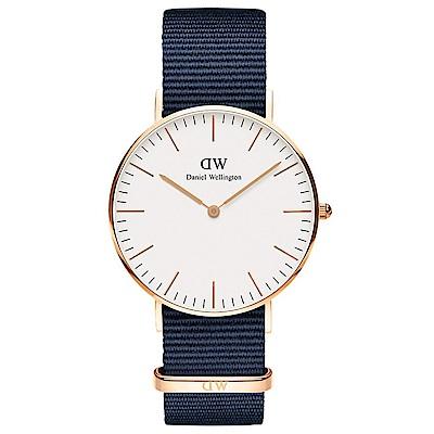 DW DanielWellington 經典風尚手錶白X玫瑰金框X藍帶/36mm