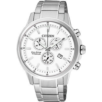 CITIZEN ECO-Drive 鈦金屬計時腕錶(AT2340-81A)-銀/42mm