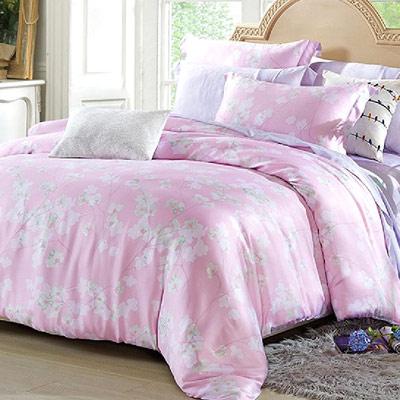 Saint Rose 暖玉生香 粉 雙人100%純天絲全鋪棉床包兩用被套四件組