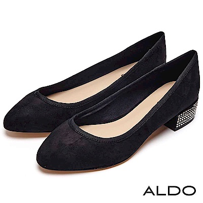 ALDO 原色尖頭鉚釘圓珠復古方形粗跟鞋~尊爵黑色