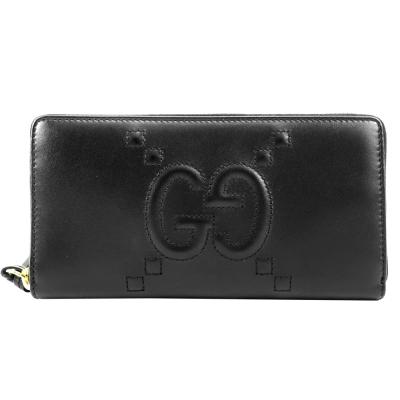 GUCCI GG壓紋縫線牛皮ㄇ字拉鍊長夾(黑)