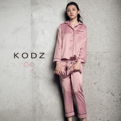東京著衣-KODZ 親膚質感微光澤絲質睡衣套裝組-S.M.L(共二色)