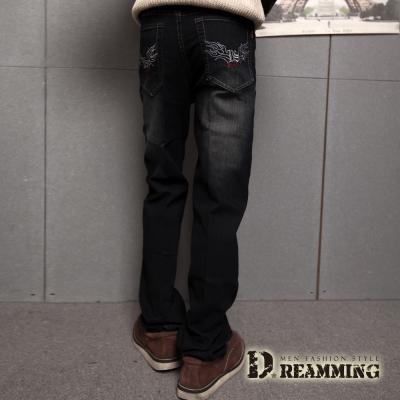 Dreamming 電繡圖騰刷色伸縮中直筒牛仔褲