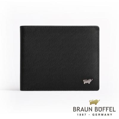 BRAUN BUFFEL - HOMME-M紳士系列極光紋8卡皮夾 - 黯黑