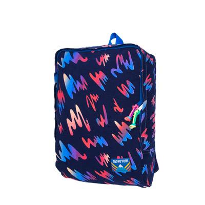 MOKUYOBI/Tucson Bag/L.A空運繽紛塗鴉印花旅行多功能筆電後背包-深藍色