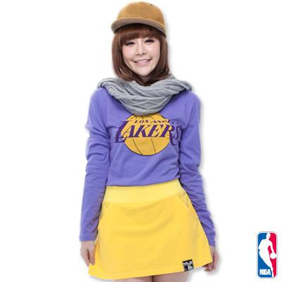 NBA-洛杉磯湖人隊棉質圓領T恤-淺紫(女)