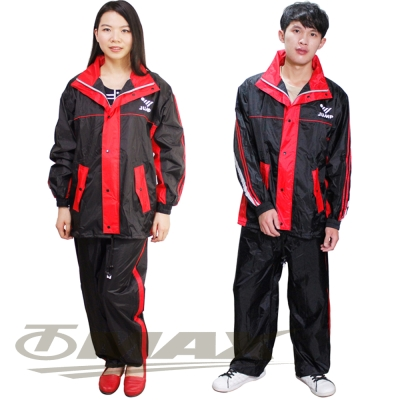 JUMP第二代雅仕套裝雨衣+通用鞋套-黑紅