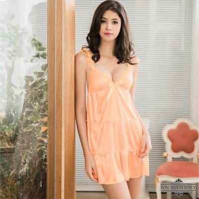 大尺碼Annabery甜蜜粉橘蕾絲肩帶蛋糕裙襬柔緞睡衣 粉橘 L-2L Annabery