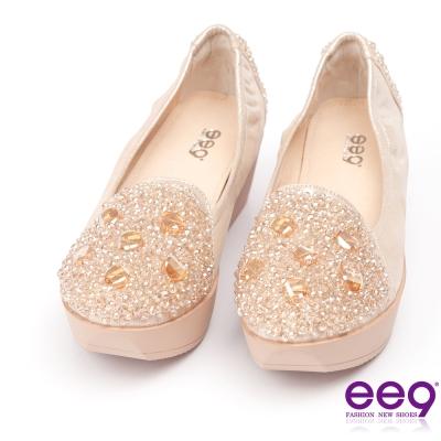 ee9璀璨迷人~耀眼奪目鑲嵌晶鑽超輕楔型跟包鞋*香檳
