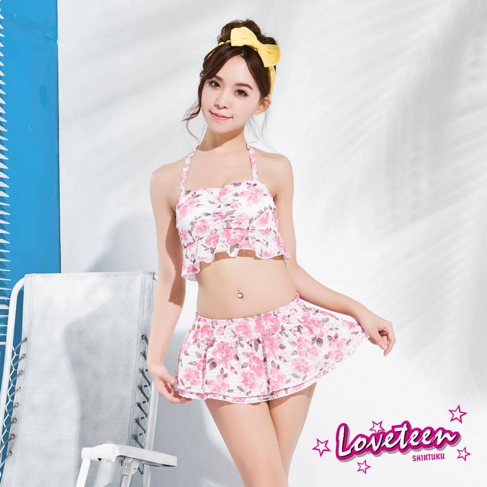 夏之戀Loveteen 比基尼泳裝 比基尼短版三件式泳衣 白底粉紅印花