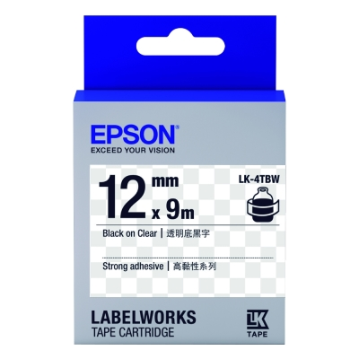 EPSON C53S654411 LK-4TBW高黏性透明底黑字標籤帶(寬度12mm)