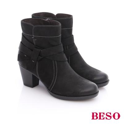 BESO 簡約知性 真皮擦色雙繞帶粗跟短靴  黑色