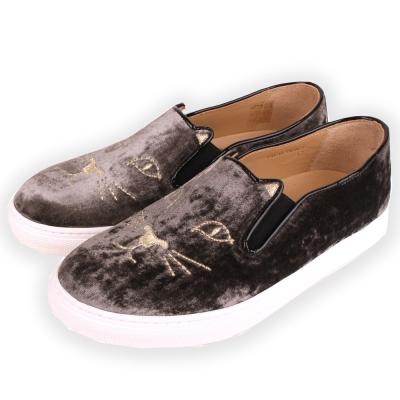 Charlotte Olympia Kitty 經典天鵝絨貓咪厚底鞋(咖啡色)