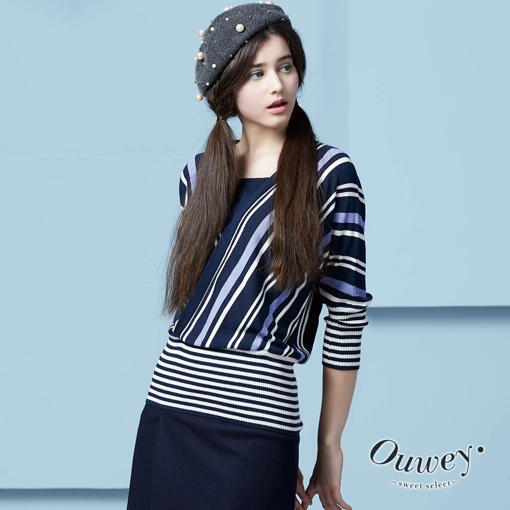 OUWEY歐薇 藍調條紋交叉領針織衫(藍)