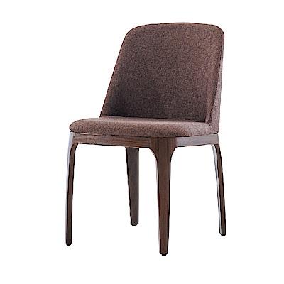 品家居 黛兒亞麻布實木造型餐椅(二色可選)-48x61x80cm免組