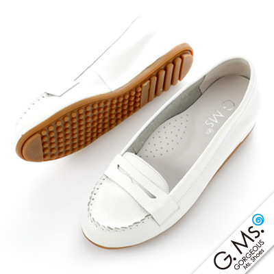 【G.Ms.】Q彈新主張‧簡約莫卡辛真皮內增高豆豆鞋‧純潔白