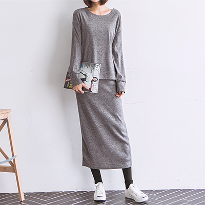 正韓 休閒針織上衣後開衩長裙套裝 (共二色)-N.C21