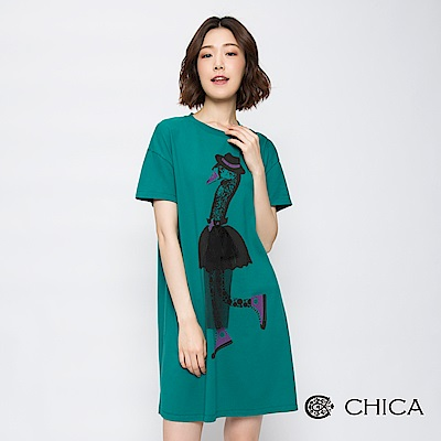 CHICA 玩味天鵝湖圖騰設計長版上衣(3色)