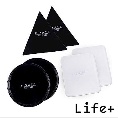 Life Plus 無痕隨行矽膠貼墊/萬用貼/隨手貼 (黑-三角+圓形+透明-方形)X2