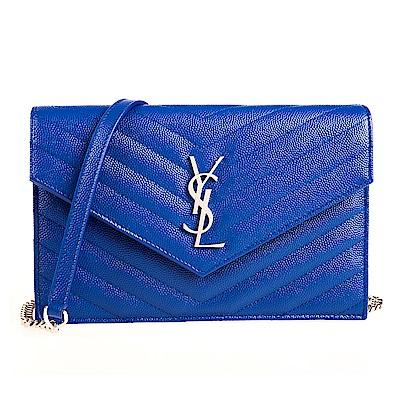 YSL V字縫線斜紋牛皮金屬LOGO銀鍊斜肩/手拿包 (寶藍/小)