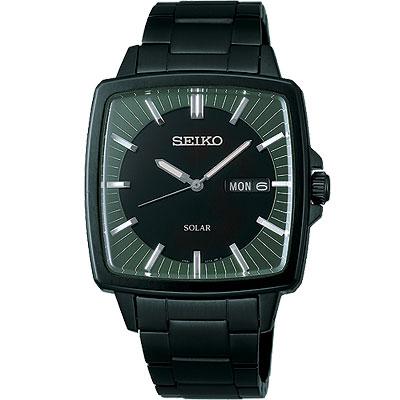 SEIKO SPIRIT 太陽能復古風尚腕錶(SBPX037J)-黑x軍綠/IP黑/36mm